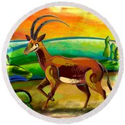 Antelope Of The Valley Round Beach Towel