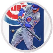 Anthony Rizzo Chicago Cubs Oil Art Round Beach Towel
