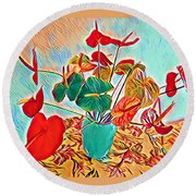 Anthurium Bouquet Of The Day - Multiple Color Round Beach Towel