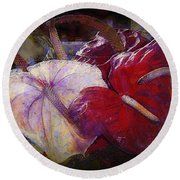 Round Beach Towel featuring the photograph Anthuriums For My Valentine by Lori Seaman