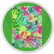 Anthuriums Pink And Turquoise Round Beach Towel