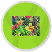 Anthuriums Yellow And Red Round Beach Towel