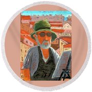 Antibes Self Round Beach Towel by Gary Coleman