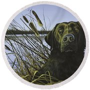 Anticipation - Black Lab Round Beach Towel