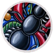 Ant Art Painting Colorful Abstract Artwork - Chromatic Acrylic Painting Round Beach Towel