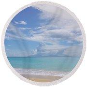 Antigua Beach View Of Montserrat Volcano Round Beach Towel