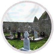 Round Beach Towel featuring the photograph Antigua Iglesia De Killinaboy, Ireland by Marie Leslie