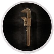 Antique Adjustable Wrench Front On Black Round Beach Towel