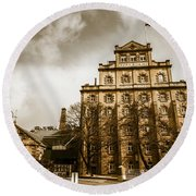 Antique Australia Architecture Round Beach Towel