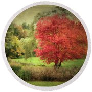 Antique Autumn Round Beach Towel