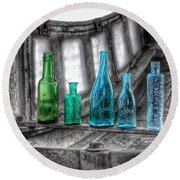 Antique Blue Green Glass Bottle Collection Baltimore - Maryland Glass Corporation Round Beach Towel