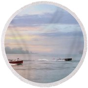 Antique Boat Rides Round Beach Towel
