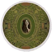 Antique Book Cover With Cameo - Green And Gold Round Beach Towel