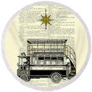 Double-decker Bus Vintage Illustration Dictioanry Art Round Beach Towel