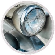 Antique Car Headlight And Reflections Round Beach Towel