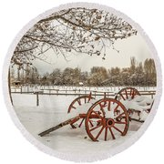 Antique Cart With Snow Round Beach Towel