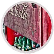 Antique Coca Cola Coke Refrigerator Round Beach Towel