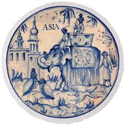 Continental Romantic Blue And White Ceramic Tile Depicting An Asian Elephant With Mahouts And Birds Round Beach Towel
