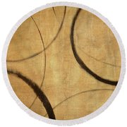 Round Beach Towel featuring the painting Antique Ensos by Julie Niemela
