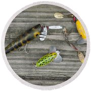 Antique Fishing Lures Round Beach Towel