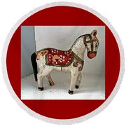 Antique Folk Art Horse Round Beach Towel