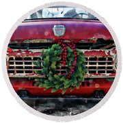 Antique Ford Christmas Round Beach Towel