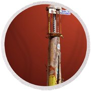 Antique Gas Pump Round Beach Towel