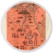 Antique Illustrated Map Of Egypt _ Monuments Around River Nile - Cairo, Luxor, Abu Simbel Round Beach Towel