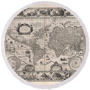 Antique Illustrated Map Of The World - Rivers Of The World - Illustrated Chart - Old Map Round Beach Towel