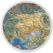 Antique Japanese Map Showing Road And Rail Routes - Historical Map - Cartography Round Beach Towel
