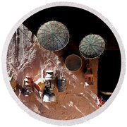 Round Beach Towel featuring the photograph Antique Lanterns by Andrew Fare