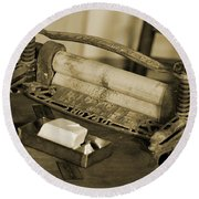Antique Laundry Ringer And Handmade Lye Soap In Sepia Round Beach Towel