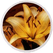 Antique Lilies Round Beach Towel