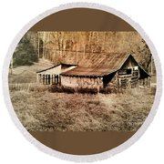 Antique Log Beam Barn Southern Indiana Round Beach Towel