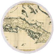 Antique Map Of Cuba Round Beach Towel