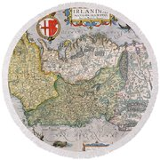 Antique Map Of Ireland Round Beach Towel