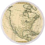 Antique Map Of North America Round Beach Towel