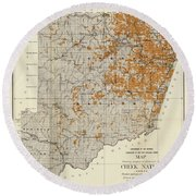 Antique Map Of The Creek Nation 1889 Round Beach Towel