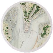 Antique Map Of West Point  Virginia Round Beach Towel
