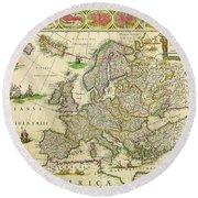 Antique Maps Of The World Map Of Europe Willem Blaeu C 1650 Round Beach Towel