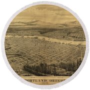Antique Maps - Old Cartographic Maps - Antique Birds Eye Map Of Portland, Oregon, 1879 Round Beach Towel