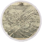Antique Maps - Old Cartographic Maps - Antique Birds Eye View Map Of Denton, Texas, 1883 Round Beach Towel