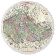 Antique Maps - Old Cartographic Maps - Antique Map Of Bohemia And Moravia, 1801 Round Beach Towel