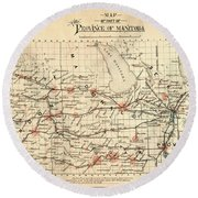 Antique Maps - Old Cartographic Maps - Antique Map Of Province Of Manitoba, 1880 Round Beach Towel