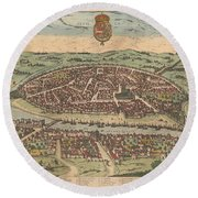 Antique Maps - Old Cartographic Maps - Antique Map Of Seville - Sevilla, Spain, 1590 Round Beach Towel