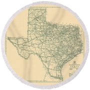 Antique Maps - Old Cartographic Maps - Antique Map Of The Highway System Of Texas, 1933 Round Beach Towel