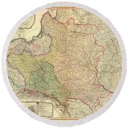 Antique Maps - Old Cartographic Maps - Antique Map Of The Kingdom Of Poland And Lithuania, 1799 Round Beach Towel