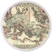 Antique Maps - Old Cartographic Maps - Antique Map Of The Roman Empire, 1880 Round Beach Towel