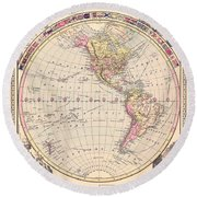 Antique Maps - Old Cartographic Maps - Antique Map Of The Western Hemisphere, 1882 Round Beach Towel