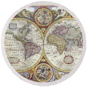 Antique Maps - Old Cartographic Maps - Antique Map Of The World, 1646 Round Beach Towel
